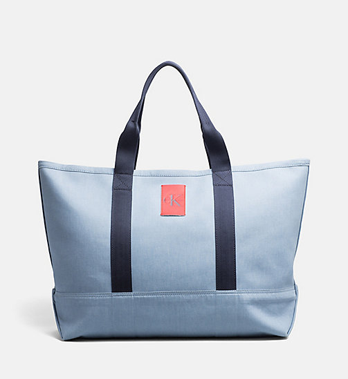 CALVIN KLEIN JEANS Extra Large Canvas Tote Bag - LIGHT NAVY - CALVIN KLEIN JEANS ACCESSORIES - main image