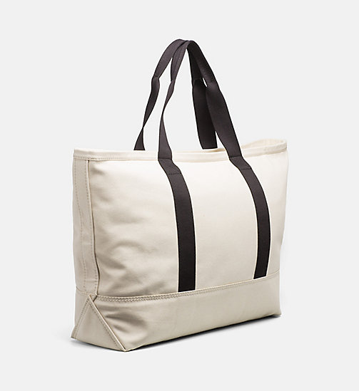 CALVIN KLEIN JEANS Extra Large Canvas Tote Bag - LIGHT CANVAS - CALVIN KLEIN JEANS TOTE BAGS - detail image 1