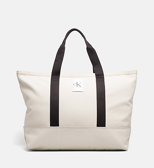 CALVIN KLEIN JEANS Extra Large Canvas Tote Bag - LIGHT CANVAS - CALVIN KLEIN JEANS TOTE BAGS - main image