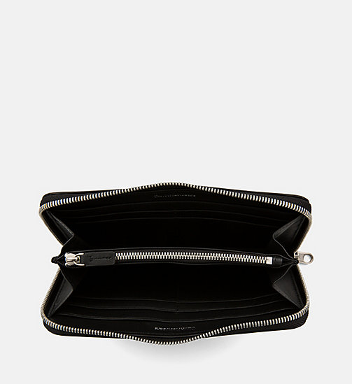 CALVIN KLEIN JEANS Leather Zip-Around Wallet - BLACK - CALVIN KLEIN JEANS WALLETS & SMALL ACCESSORIES - detail image 1