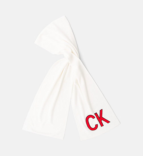 CALVIN KLEIN JEANS Knit Scarf - BRIGHT WHITE - CALVIN KLEIN JEANS BAGS - main image