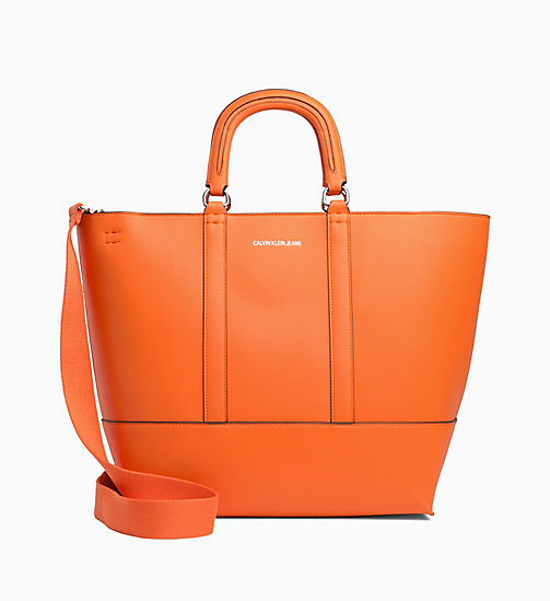 CALVIN KLEIN JEANS Medium Tote Bag - ORANGE TIGER - CALVIN KLEIN JEANS TOTE BAGS - main image