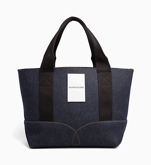 CALVIN KLEIN JEANS Borsa tote media in denim - BLUE DENIM - CALVIN KLEIN JEANS DENIM SHOP - immagine principale