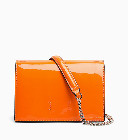 CALVIN KLEIN JEANS Patent Cross Body Bag - NEON ORANGE - CALVIN KLEIN JEANS CROSSOVER BAGS - main image
