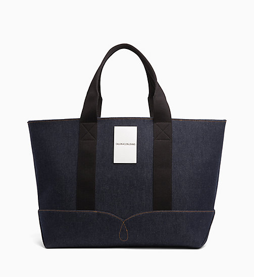 CALVIN KLEIN JEANS Large Denim Tote Bag - BLUE DENIM - CALVIN KLEIN JEANS BAGS - main image