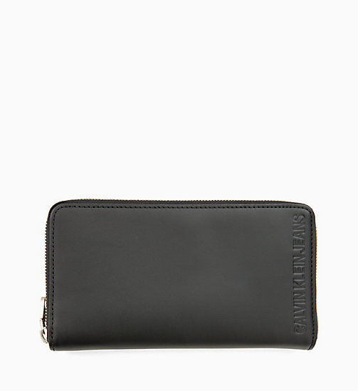 CALVIN KLEIN JEANS Leather Zip-Around Wallet - BLACK - CALVIN KLEIN JEANS WALLETS & SMALL ACCESSORIES - main image