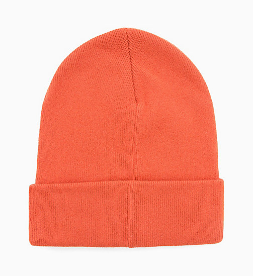 CALVIN KLEIN JEANS Wool Blend Logo Beanie - PUMPKIN RED -  BOLD GRAPHICS - detail image 1