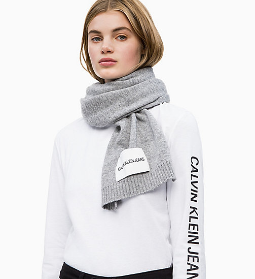 CALVIN KLEIN JEANS Wool Blend Scarf - MID GREY HEATHER B38 - VOL39 - CALVIN KLEIN JEANS SCARVES - detail image 1