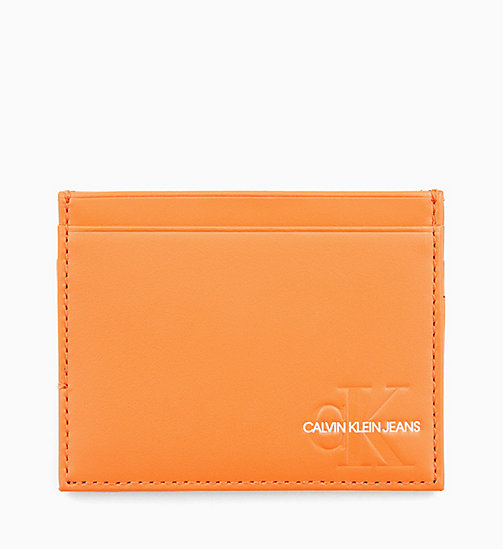 CALVIN KLEIN JEANS Leather Cardholder - ORANGE TIGER - CALVIN KLEIN JEANS LOGO SHOP - main image