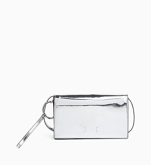 CALVIN KLEIN JEANS Patent Clutch - SILVER SPECCIO - CALVIN KLEIN JEANS CLUTCH BAGS - main image
