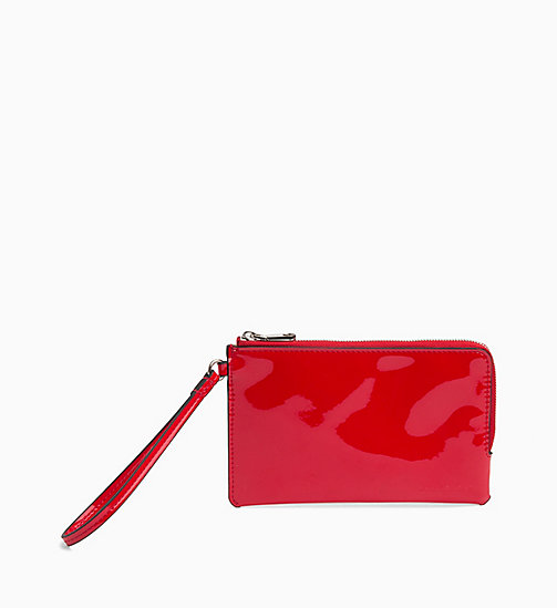 CALVIN KLEIN JEANS Patent Wristlet Pouch - HIGH RISK SPECCIO - CALVIN KLEIN JEANS WALLETS & SMALL ACCESSORIES - main image