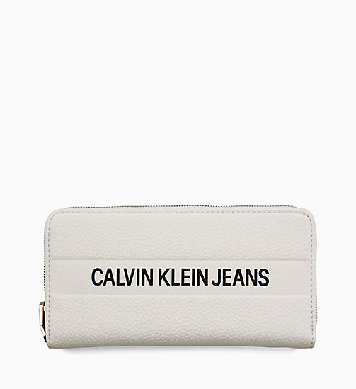 CALVIN KLEIN JEANS Logo Large Zip-Around Wallet - BRIGHT WHITE - CALVIN KLEIN JEANS LOGO SHOP - main image