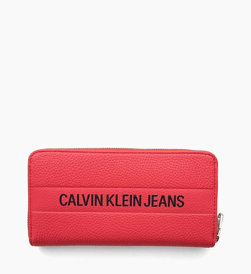 CALVIN KLEIN JEANS Logo Large Zip-Around Wallet - BLACK - CALVIN KLEIN JEANS WOMEN - main image