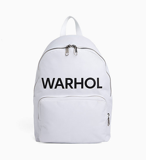 CALVIN KLEIN JEANS Andy Warhol Logo Backpack - BRIGHT WHITE - CALVIN KLEIN JEANS NEW IN - main image