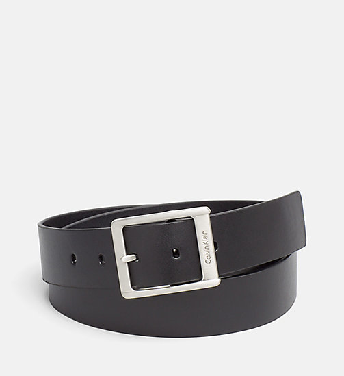 CALVIN KLEIN JEANS Leather Square Buckle Belt - BLACK - CALVIN KLEIN JEANS BELTS - main image