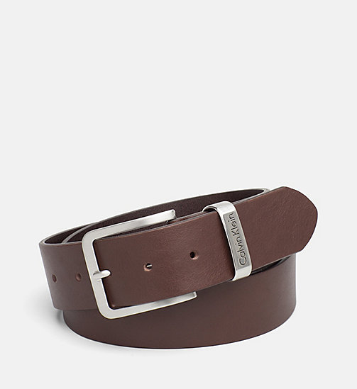 CALVIN KLEIN JEANS Leather Belt - DARK BROWN - CALVIN KLEIN JEANS BELTS - main image