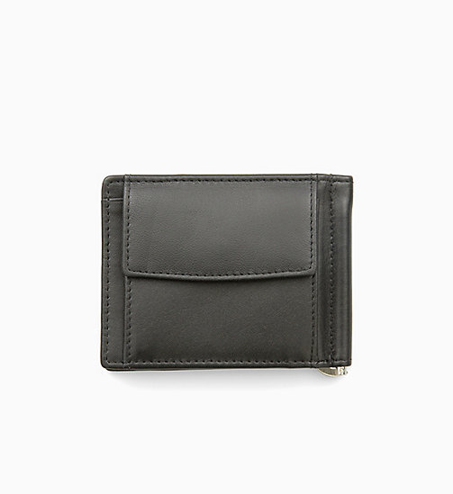 CALVIN KLEIN JEANS Leather Money Clip Wallet - BLACK - CALVIN KLEIN JEANS WALLETS - detail image 1