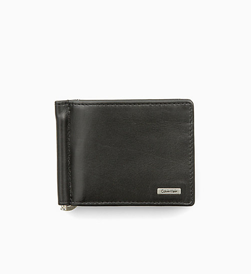 CALVIN KLEIN JEANS Leather Money Clip Wallet - BLACK - CALVIN KLEIN JEANS WALLETS - main image