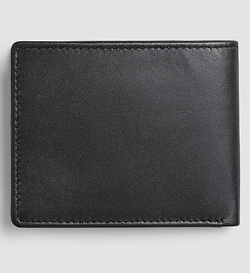 CALVIN KLEIN JEANS Leather Slimfold Wallet - BLACK - CALVIN KLEIN JEANS WALLETS - detail image 1