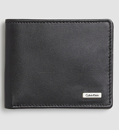 CALVIN KLEIN JEANS Leather Slimfold Wallet - BLACK - CALVIN KLEIN JEANS WALLETS - main image
