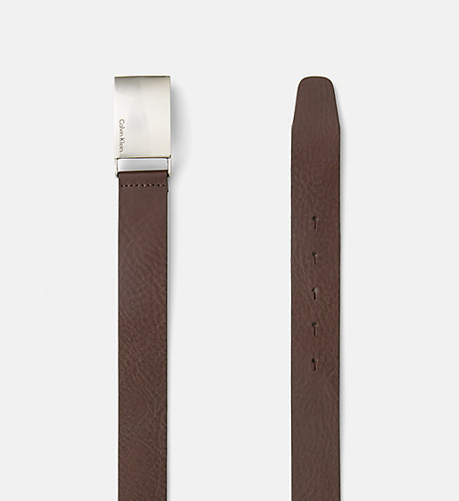 CALVIN KLEIN JEANS Leather Plaque Belt - DARK BROWN - CALVIN KLEIN JEANS BELTS - detail image 1