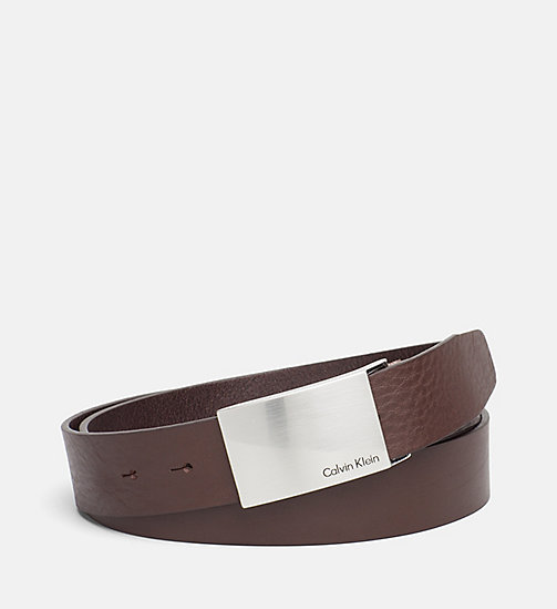 CALVIN KLEIN JEANS Leather Plaque Belt - DARK BROWN - CALVIN KLEIN JEANS BELTS - main image