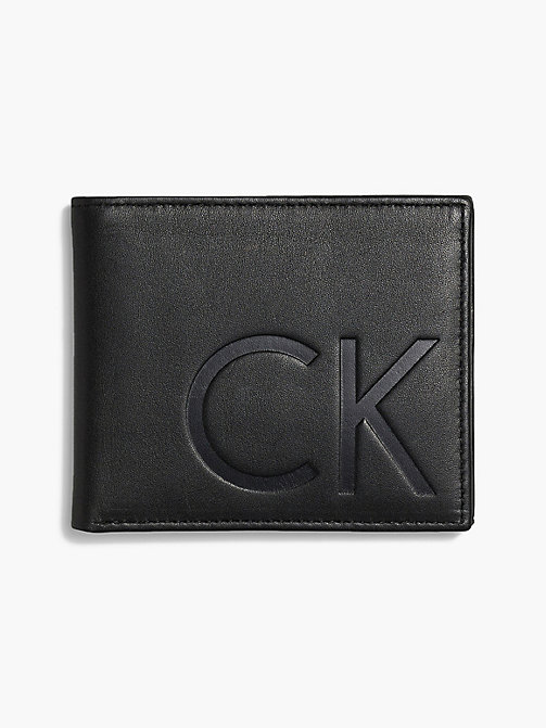 CALVIN KLEIN Leather Slimfold Wallet - BLACK - CALVIN KLEIN FOR HIM - main image