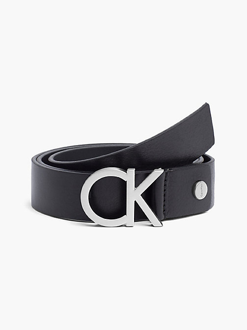 CALVINKLEIN Leather CK Buckle Belt - BLACK - CALVIN KLEIN BELTS - main image