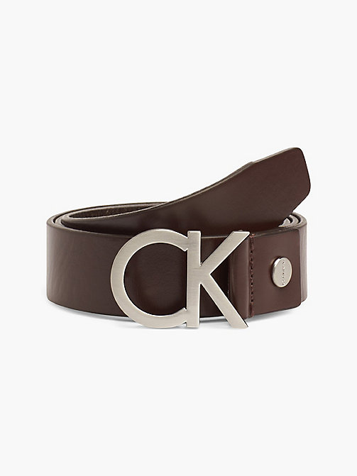 CALVIN KLEIN Leather CK Buckle Belt - TURKISH COFFE - CALVIN KLEIN BELTS - main image