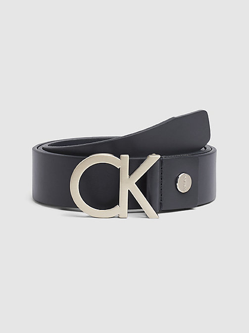 CALVINKLEIN Leather CK Buckle Belt - NAVY - CALVIN KLEIN BELTS - main image