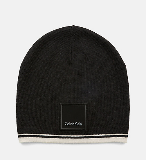 CALVINKLEIN Wool Blend Beanie - BLACK/DUSTED IVORY - CALVIN KLEIN SHOES & ACCESSORIES - main image