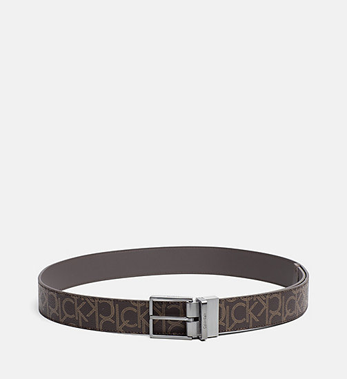 CALVINKLEIN Reversible Logo Belt - BROWN MONOGRAM - CALVIN KLEIN SHOES & ACCESSORIES - main image