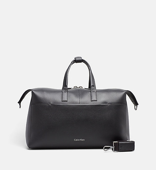 CALVINKLEIN Leather Weekender Bag - BLACK - CALVIN KLEIN MODERN MENSWEAR - main image