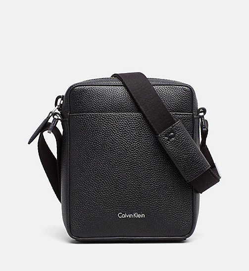 CALVINKLEIN Leather Mini Reporter Bag - BLACK - CALVIN KLEIN MODERN MENSWEAR - main image