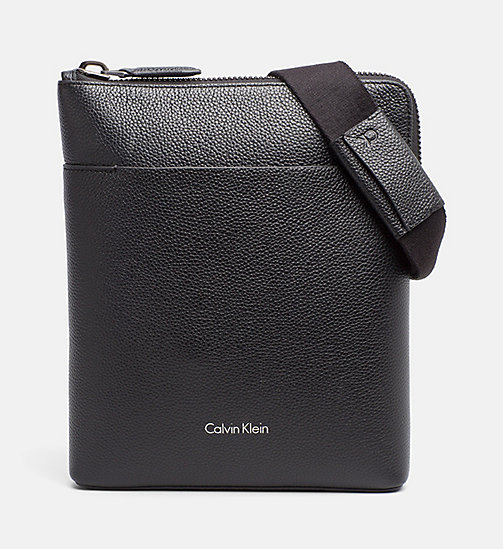 CALVINKLEIN Leather Flat Crossover - BLACK - CALVIN KLEIN CROSSOVER BAGS - main image
