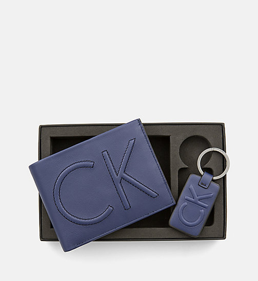 CALVINKLEIN Leather Wallet and Keyring Gift Box - NAVY -  WALLETS & SMALL ACCESSORIES - main image