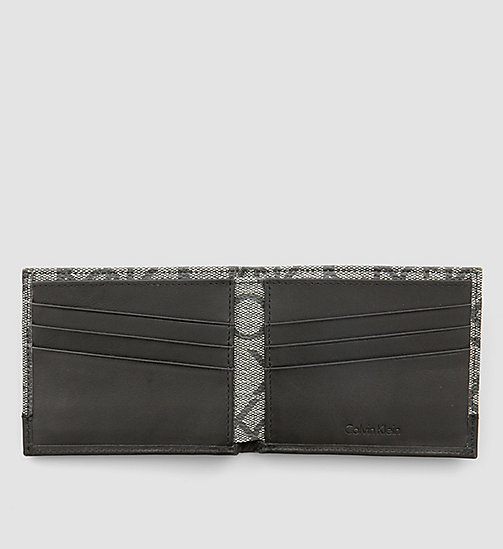CALVINKLEIN Leather Logo Slimfold Wallet - BLACK MONOGRAM -  WALLETS & SMALL ACCESSORIES - detail image 1