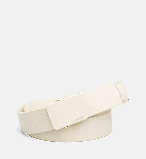 CALVINKLEIN Canvas Plaque Belt - CEMENT - CALVIN KLEIN BELTS - main image