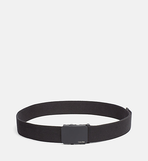 CALVINKLEIN Canvas Plaque Belt - BLACK - CALVIN KLEIN NEW NECESSITIES - main image