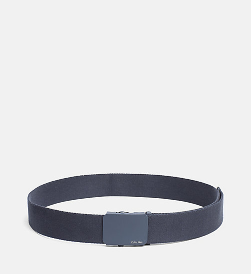 CALVINKLEIN Canvas Plaque Belt - BLUE NIGHT - CALVIN KLEIN NEW NECESSITIES - main image