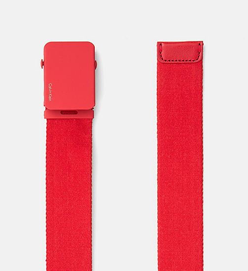 CALVINKLEIN Canvas Plaque Belt - SCARLET - CALVIN KLEIN BELTS - detail image 1