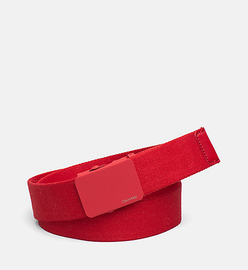 CALVINKLEIN Canvas Plaque Belt - SCARLET - CALVIN KLEIN NEW NECESSITIES - main image
