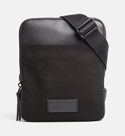 CALVINKLEIN Canvas Flat Crossover - BLACK - CALVIN KLEIN BAGS & ACCESSORIES - main image