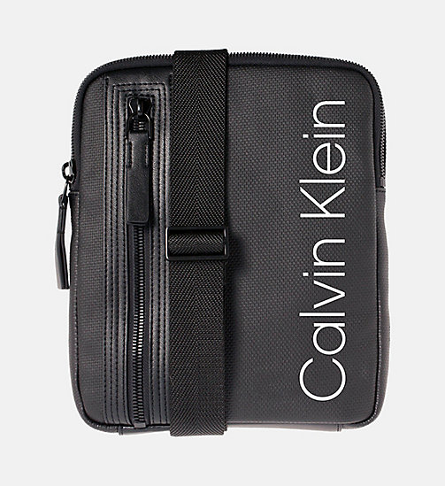 CALVINKLEIN Coated Canvas Flat Crossover - BLACK - CALVIN KLEIN BAGS & ACCESSORIES - main image