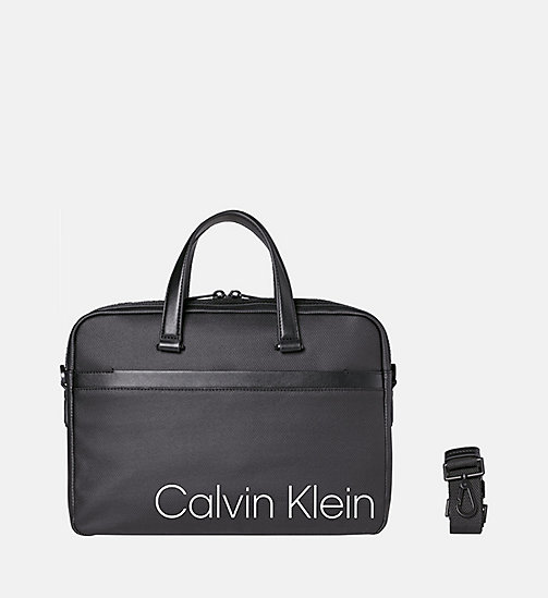 CALVINKLEIN Coated Canvas Slim Laptop Bag - BLACK - CALVIN KLEIN SHOES & ACCESSORIES - main image