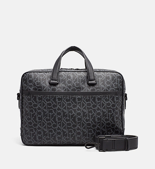 CALVINKLEIN Logo Laptop Bag - BLACK MONOGRAM - CALVIN KLEIN LOGO SHOP - main image