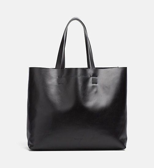 CALVINKLEIN Large Leather Tote Bag - BLACK - CALVIN KLEIN WEEKEND BAGS - main image