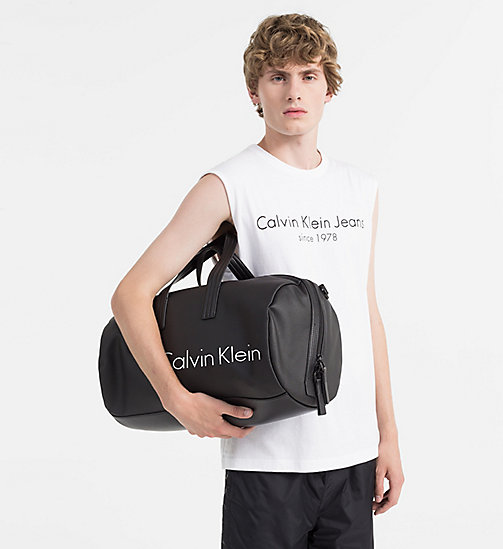 CALVINKLEIN Coated Canvas Cylinder Duffle Bag - BLACK - CALVIN KLEIN SHOES & ACCESSORIES - detail image 1
