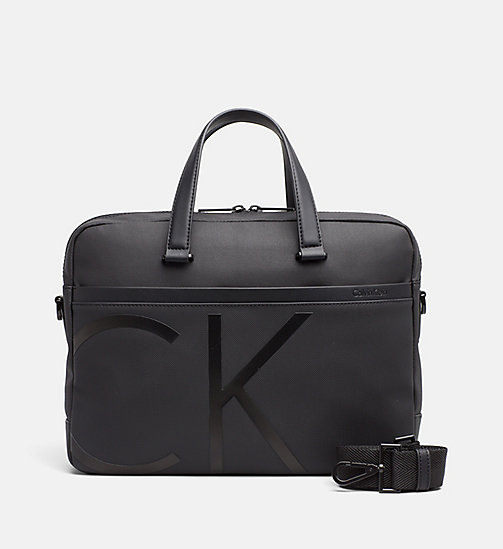 CALVINKLEIN Gecoate canvas slim laptoptas - BLACK - CALVIN KLEIN LAPTOP TASSEN - main image