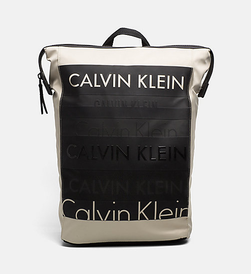 CALVINKLEIN Logo Square Backpack - CEMENT - CALVIN KLEIN BACKPACKS - main image